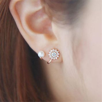 Rose Gold Sunflower Crystal and Pearl Stud Earrings +Gift Box