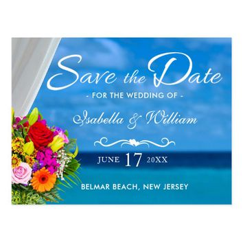 Elegant Colorful Flowers Blue Beach Save the Date Postcard