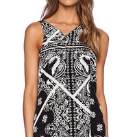 Tibi Patchwork Bandana Tank in Black & White