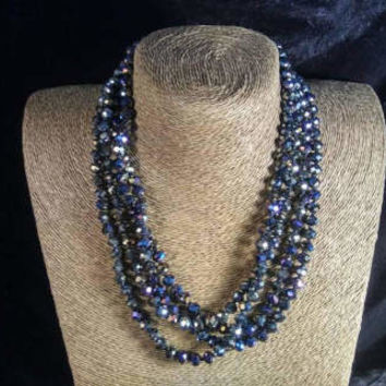 Vintage Long Necklace - Black Iridescent Crystal Glass Flapper Jewelry - 78 Inches - High End Estate Jewelry