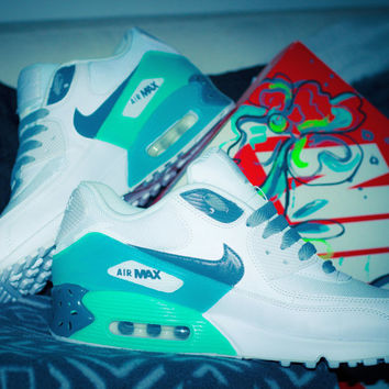 Air max 90 with custom painted south beach green ombre.