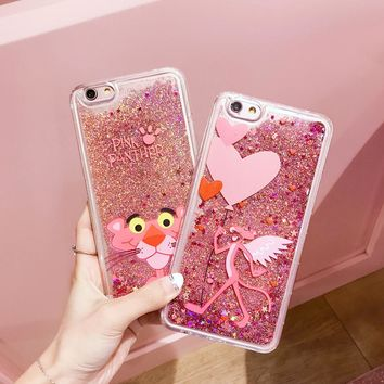 Cute Cartoon Pink Panther Animals TPU Phone Case For Iphone 6 Cases Liquid Quicksand Glitter Case for Iphone 7 Cases 6S 7 8 Plus