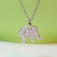 "Sterling Silver CZ ELEPHANT Pendant With 16"" Cable Chain"