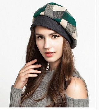 ICIK4S2 Maitose? Women's Scottish Plaid Wool Peaked Cap Beret
