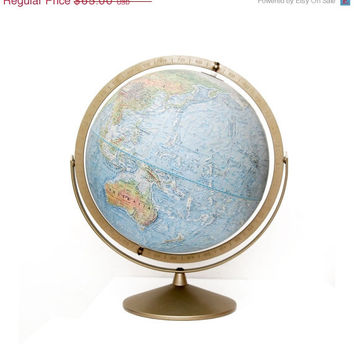 33% OFF SALE Vintage 1961 Replogle Land and Sea Globe, Full Tilt Axis, Raised Relief, Matte Finish