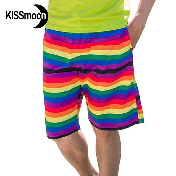 KISSyuer Quick-drying Rainbow painting Colorfule stripe Red Orange Yellow Blue Green shorts Couple men board shorts KBS1104
