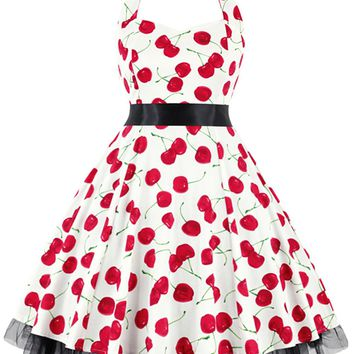 Atomic White Cherry Halter Swing Dress