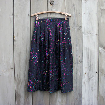 Vintage skirt - Black confetti print party skirt