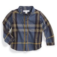 Toddler Boy's Burberry 'Mini Fred' Check Woven Cotton Sport Shirt