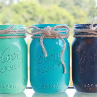 Mint Green/Teal Blue/Navy Blue - Painted & Distressed Mason Jar Home Decor RTS