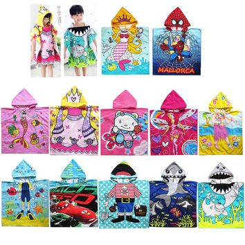 12 style cartoon children cloak towel Microfiber printing hooded girls boys necessary swimming beach towels
