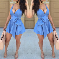 Fashion Sling Deep V-Neck Denim Dress
