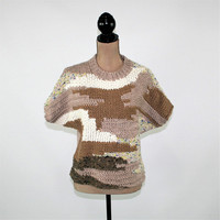 Women Pullover Sweater Top Dolman Sleeve Brown Chunky Wool Knit Top Short Sleeve Sweater Small Abstract Sweater Womens Clothing