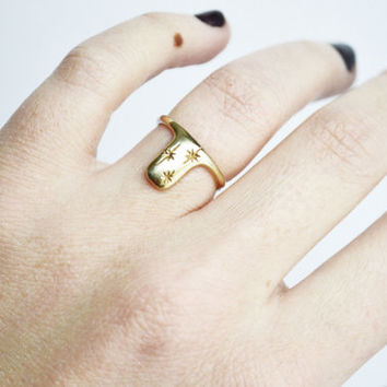 Night Ring, Yellow Brass Ring, Sterling Silver Ring, 14K Yellow Gold Ring, Stars, Thin Ring