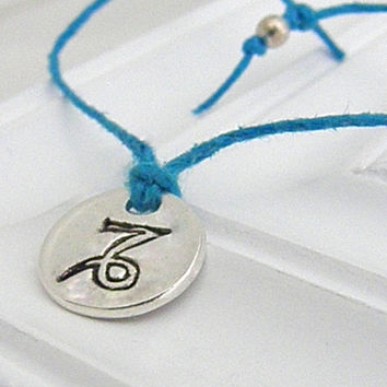 Capricorn Wish Bracelet - Hand Stamped Silver with Hemp on Etsy