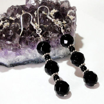 Black Onyx Long Stacking Silver Earrings Dangles , Prom, Wedding, Mothers Day Gifts