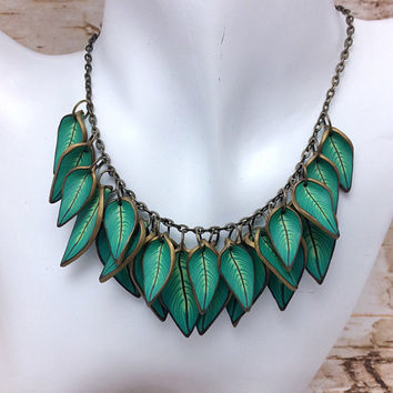 Green Leaf Statement Necklace, Polymer Clay Cane, Bronze Nature Jewelry, Unique Womens Gift
