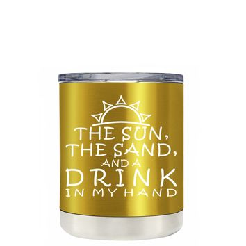 TREK The Sun The Sand and a Drink in my Hand on Translucent Green 10 oz Lowball Tumbler