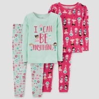 Toddler Girls' 4pc I can Be Anything Long Sleeve Cotton Pajama Set - Just One You™ Made by Carter's® Green