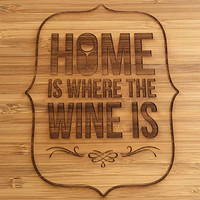 Wine Lover's Cutting Board- Laser Engraved- Kitchen Art, Engraved Wood Bamboo Kitchen Decor, Geekery
