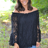 All Over Lace Off the Shoulder Top in Black