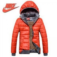 Nike:Fashion Women Orange Red Hoodie Winter Long Sleeve Zipper Coat Jacket Windbreaker