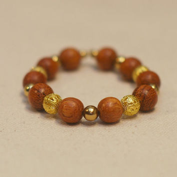 Bohemian Wood Stretchy Bracelet - Chunky Wooden and Gold Smooth & Filigree Beaded Bracelet