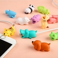 Cable Protector for Iphone cable Winder dog Bite Phone holder Accessory Organizer