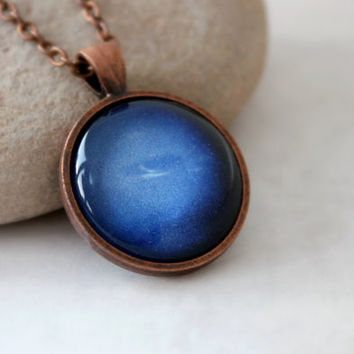 Neptune Necklace, Antique Copper Pendant,Glass Cabochon Pendant With Chain