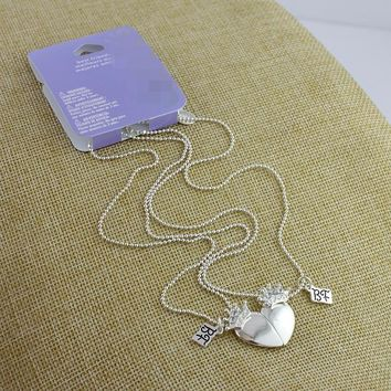 Sweet couple jewelry silver alloy love necklace cute girl magnet clavicle chain 2 detachable wear JO