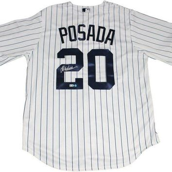ONETOW Jorge Posada Signed Autographed New York Yankees Baseball Jersey (Steiner COA)