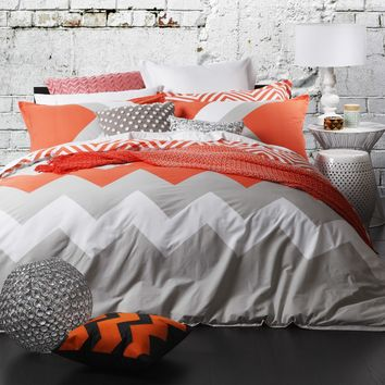 Marley Tangerine Quilt Cover Set by Logan & Mason - Just Bedding