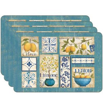 Jason Zest of Yellow Hardboard Cork-Backed Placemats (Set of 4)