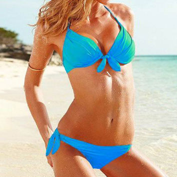 Push-Ups Sexy Bikini Swimwear Swimsuit Bathing Suit  lake blue