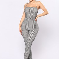 The Coolest Chick Jumpsuit - Black/White