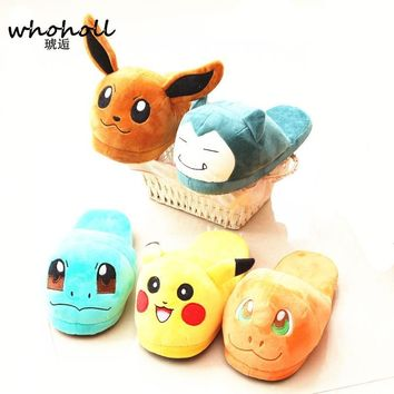 Winter Warm Fu Slippers Women Home Slippers Indoor  style female Plush home cartoon cotton Slippers Pregnant WomanKawaii Pokemon go  AT_89_9