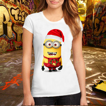 Minion Christmas T Shirt Printed T Shirt, Women T Shirt, (Various Color Available)