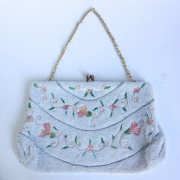 Hand beaded and embroidered purse - micro bead Belgium