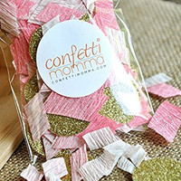 Pink Blush and Gold Glitter Confetti. 2 Packs (50ct each).