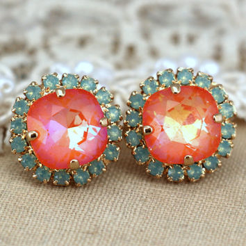 Mint green orange stud Swarovski earrings, gift for woman, crystal studs- 14k 1 micron Thick plated gold earrings swarovski rhinestones.
