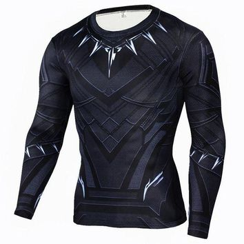 PEAPFS2 Men Compression Shirt Marvel Comics Superhero Black Panther Winter Soldier Ant-Man Muscle Fit Tee Shirts Fitness Clothing Men