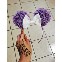 Floral minnie ears purple