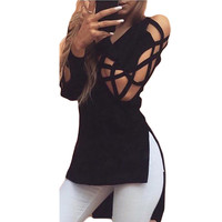New Women Hollow Casual Long Sleeve Tops Loose Ladies Lace Sexy T Shirt