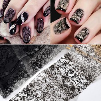 TOMTOSH 10pcs Noble Black Lace Nails Art Stickers Stickers Watermark Slider Cute Patterns Transfer Tattoo Manicure Tips Package