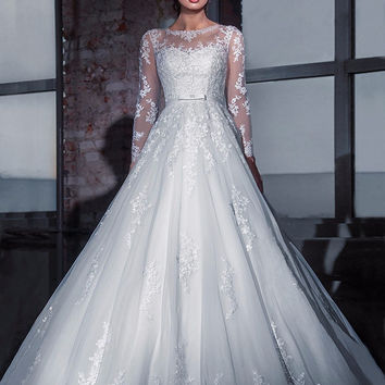 Vestido De Noiva Sheer Tulle Neck Sleeves Sexy Wedding Dress Lace Appliques Ball Gown Long Sleeves Wedding Dresses Wedding Dress