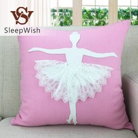 BeddingOutlet Ballet Cushion Elegant Linen Home Decor Pillow on Bed Sofa 45x45cm Lace Pink and White Seat Cushion