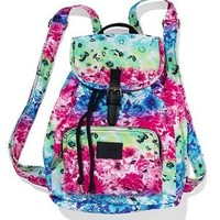 Victoria's Secret Pink Rainbow Floral Mini Backpack School Bag Purse Travel Bag