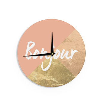 "KESS Original ""Bonjour Gold"" Metallic Wall Clock"