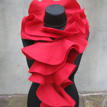 Handmade wool felted long scarf Ruffle Style Red Rose by ProninA