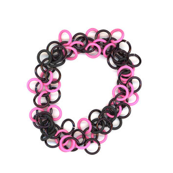 Chainmail Bracelet, Black and Pink Stretchy, Shaggy Loops, Clasp Free